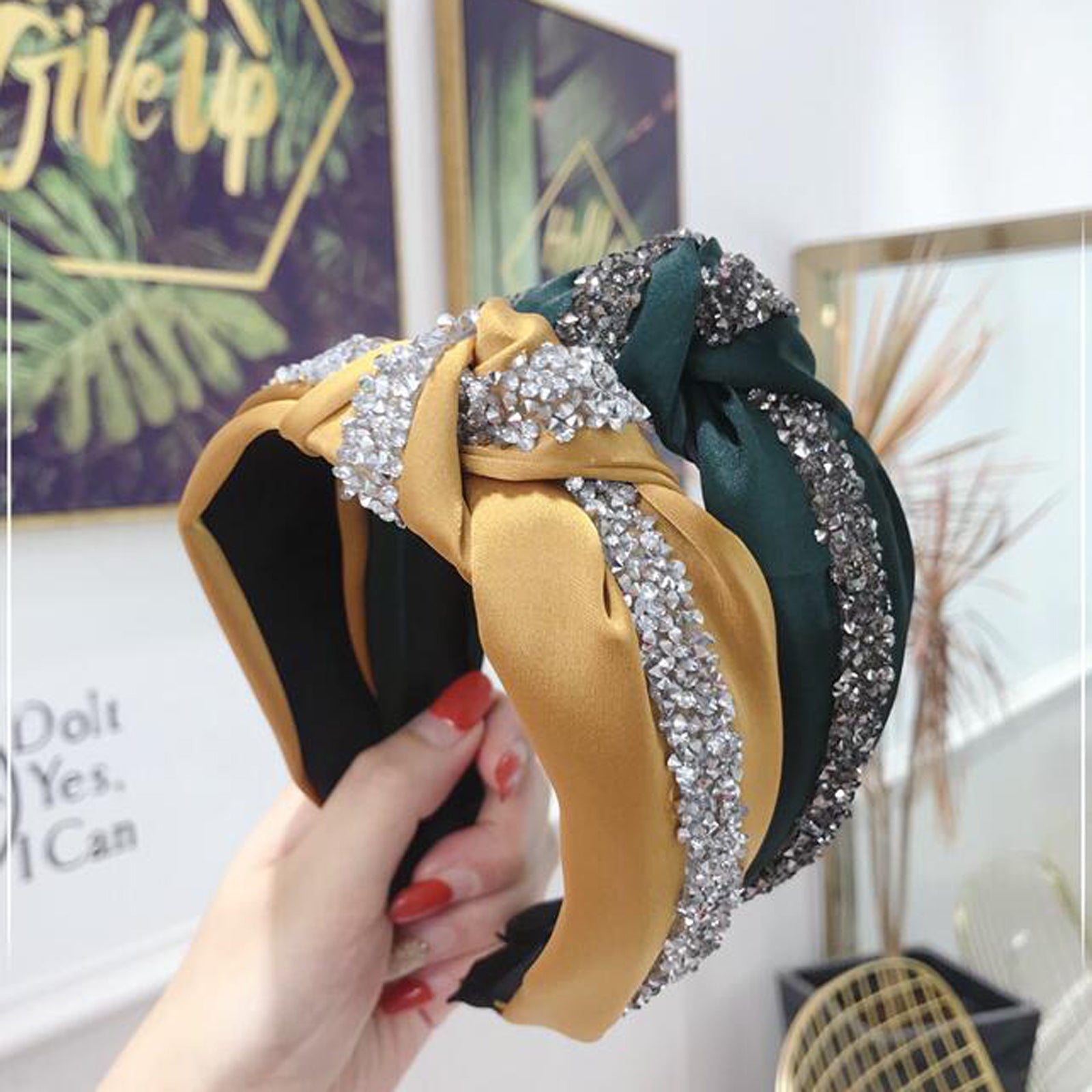 New Fashion Rhinestone Hairband Women Solid Wide Side Headband Middle Knot Turban Girls Autumn Winter Hair Accessories Headwear