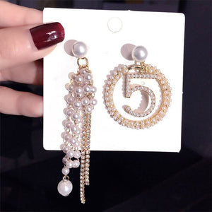 Luxury Brand Design Full Pearl Rhinestone Earrings Temperament For Woman Tassel 5 Letter Earring Party Gift