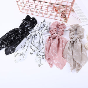 Summer Chiffon Ribbons Hairband Elastic Hair Rope Hair Tie Floral Scrunchie Women Ponytail Holder Rubber Headbands Accessories