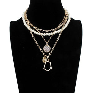Best lady New Vintage Gold Chain Statement Necklace for Women Multi Layer Star Sun Coin Pendant Necklace Wedding Party Gifts Hot