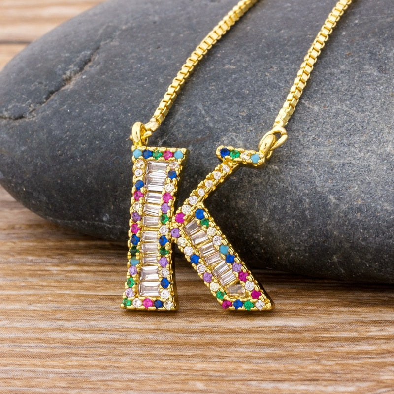 New Arrival Fashion Special Custom Design 26 Initial Letters Necklace Copper CZ Rainbow Pendant Best Family Name Jewelry Gift