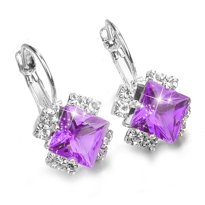 Fashion Silver Color Square Drop Earrings Purple Red Blue Black Austrian Crystal Rhinestone Earring For Women Wedding Jewelry