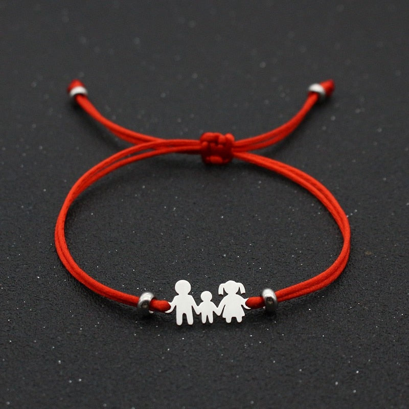 Cute Bear Lucky Red String Bracelet Braided Adjustable Stainless Steel Charm Bracelets for Family Dad Mom Son Jewelry Child Gift