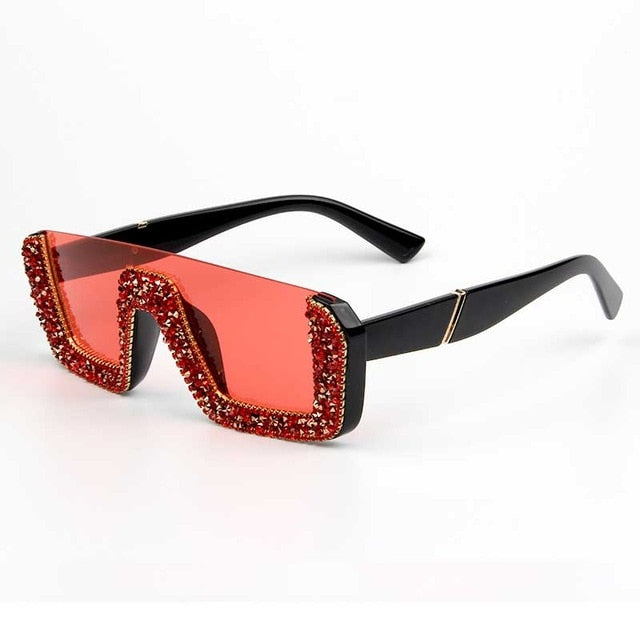 Square Luxury Sunglasses women Brand Designer Ladies Oversized rhinestone Sunglasses Men Half Frame eyeglasses For Female UV400 - MeriMeriShop