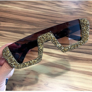 Square Luxury Sunglasses women Brand Designer Ladies Oversized rhinestone Sunglasses Men Half Frame eyeglasses For Female UV400