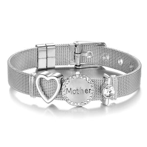 High Quality Stainless Steel Mesh Bracelet Set Love Mother Crystal Charm Brand Bracelet for Woman Wife Mother's Day gift