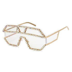 Luxury 10 Color One Piece Lens Rhinestone Sunglasses Women Oversized Square Sun Glasses Brand Designer Men Sun Glasses UV400