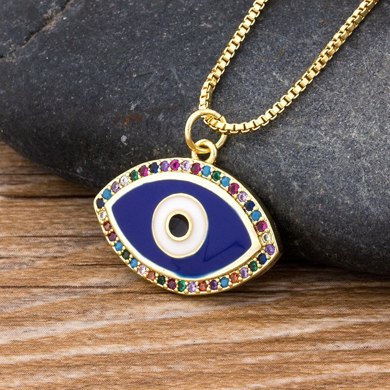 Luxury Blue Cubic Zirconia Evil Eye Necklace For Women Rainbow  Crystal Rhinestone Pendant Necklace Best Party Birthday Gift