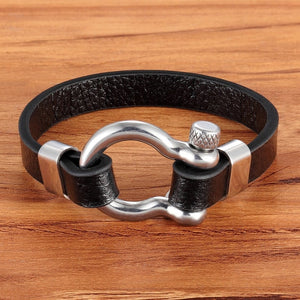 Best Selling New Classic Rock Style Geometric Circle Toggle-clasps Men's Leather Bracelet 19cm/21cm Size Meaningful Gift