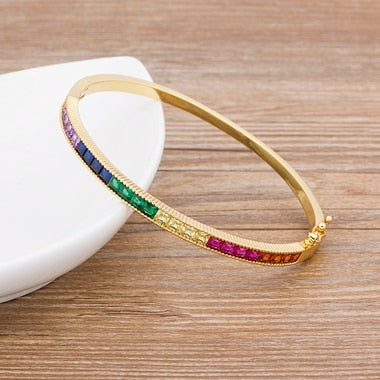 New Arrival 11 Styles Gold Color Bangle Bracelet Copper Zirconia Cuff Bracelets For Women Fashion Party Wedding Jewelry Gift