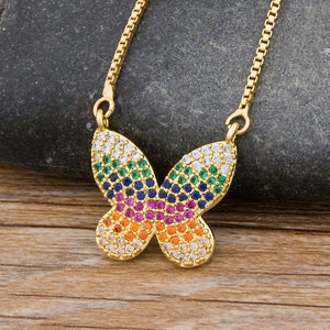 Fashion Cute Butterfly Pendant Necklace Copper Cubic Zirconia Gold Chain Necklaces CZ Rainbow Choker Fine Party Birthday Gift
