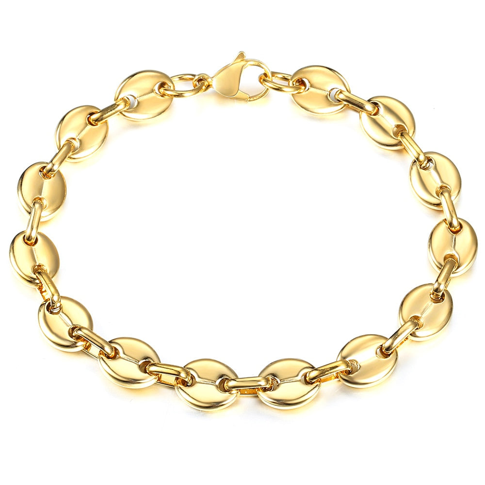 Davieslee 7/9/11mm Coffee Beans Link Chain Bracelet for Men Women Stainless Steel Gold Silver Color Fashion Jewelry Gift KBM169A