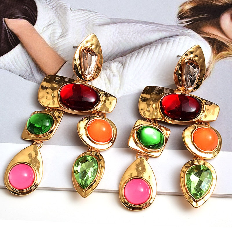 New Metal Colorful Stone Earrings High-quality Crystal Dangle Long Drop Earring Jewelry Accessories For Women Wholesale - MeriMeriShop