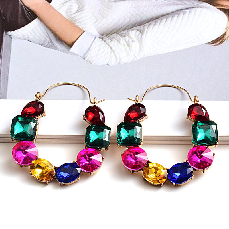 New arrivel Colorful Rhinestones Metal Long Earring High-quality Crystals Drop Earrings Jewelry Fashion Accessories For Women - MeriMeriShop