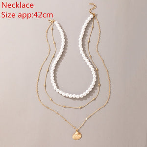 Multi Layered Imitation Pearl Choker Necklace Gold Color Collar Statement Queen Coin Heart Shell Pendant Necklace Women Jewelry - MeriMeriShop