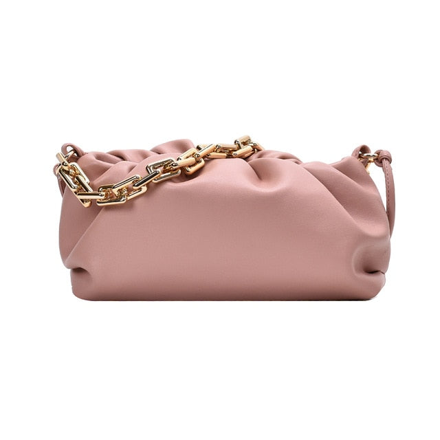 Elegant Women Chain Bag Leather Shoulder Handbags Female Clutch Evening Party Purse Women Cloud Underarm shoulder bag Totes