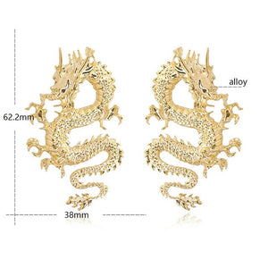 Hot Dragon Statement Earrings Cuff Earrings Meta Punk Style Snake Shape Fashion Jewelry Firery Dragon Stud Earrings - MeriMeriShop