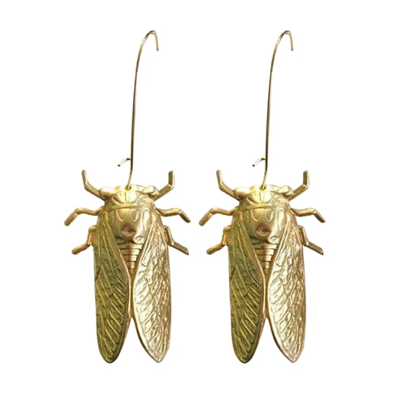 Unique Cicada Big Beetle Earrings Nature Study Victorian Cicada Entomologist Summer Bug Lucky Insect Earrings Statement Jewelry
