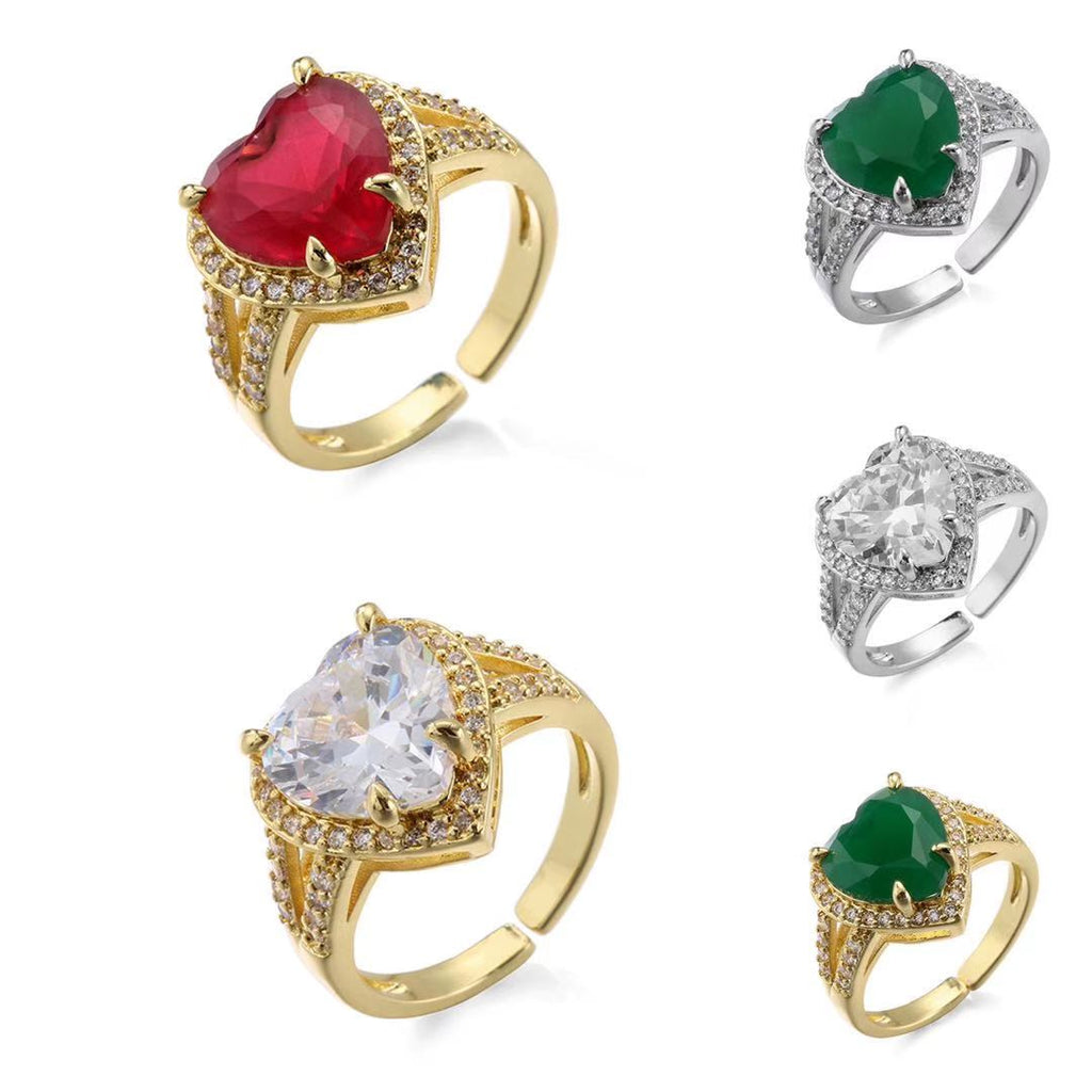 Love Heart Zircon Rings,For Women and Girls Cute Jewelry Gifts,Wholesale Dropping