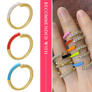 Colorful  neon ring ,wholesale ,CZ rainbow ring for women, jewelry accessries, adjusted Open finger ring VJ24 - MeriMeriShop