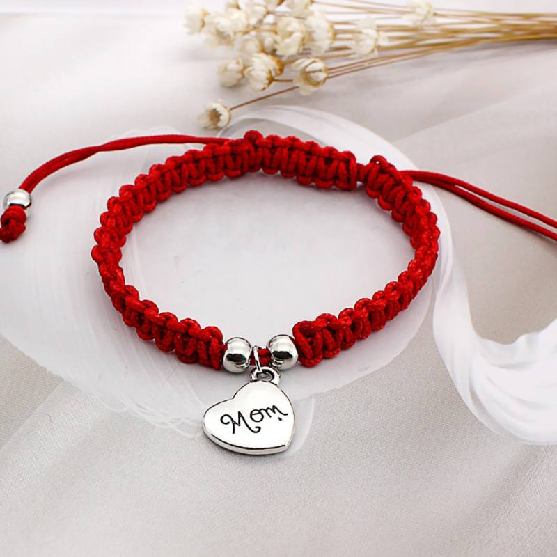 Hand Braided Lucky Red String Bracelets Fashion Bangle Mom Font Pendant Mother's Day Gift Jewelry Bracelet