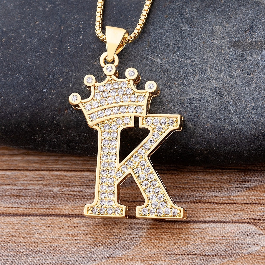 New Design 26 Letters A-Z Zircon Crown Initial Alphabet Pendant Necklace Handsome Punk Hip-Hop Style Choker Chain Jewelry Gift - MeriMeriShop