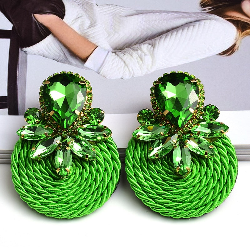 New Design Colorful Crystal Handmade Round Earrings High-Quality Statement Fashion Rhinestone Jewelry Accessories For Women - MeriMeriShop