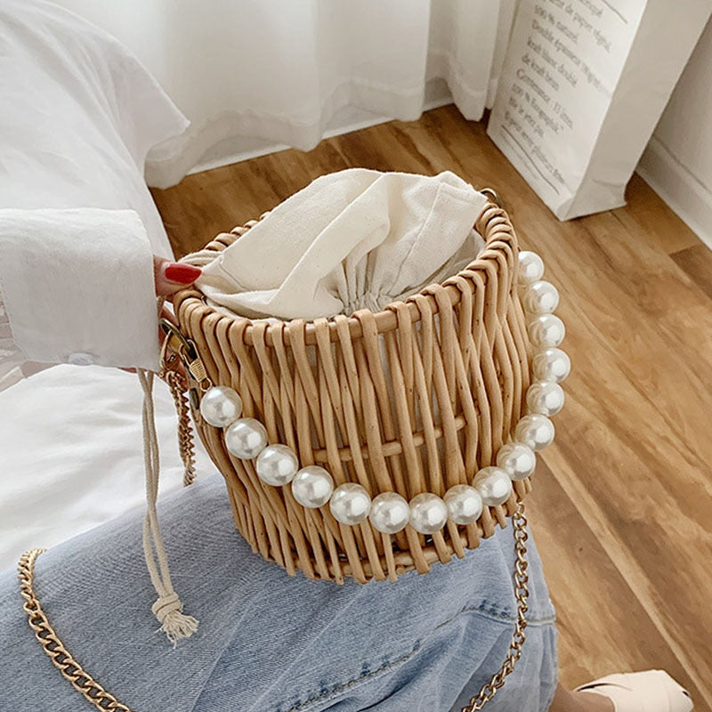Beading Chain Summer Small Straw Shoulder Bags For Women Rattan Weave Travel Beach Bucket Bag Women's Fashion Crossbody Handbags