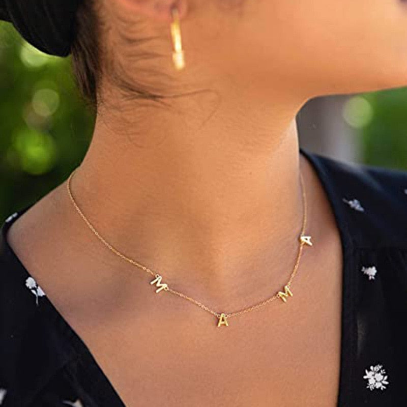 Letter Mama Necklace Women Choker Gold Sliver Color Baby Mom Chain Charm Collier Mom Necklace Female Jewelry Mother's Day Gift