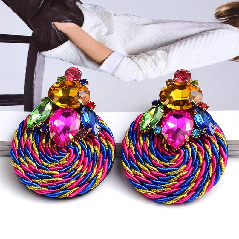 New Design Colorful Crystal Handmade Round Earrings High-Quality Fashion Rhinestone Jewelry Accessories For Women - MeriMeriShop