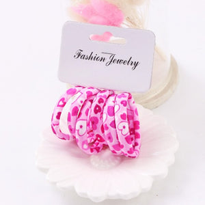 Hot Sale 6PCS/Lot Girls Cute Color Hair Band Pink Print Dot Lovely Elastic Headband Good Quality Hair Holder Accessories Tie Gum