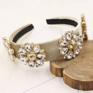 New Winter Trendy Wide Velvet Baroque Crown Retro Hairband Rhinestone Tiara Crystal Flower Headbands Wedding Hair Accessories Gi
