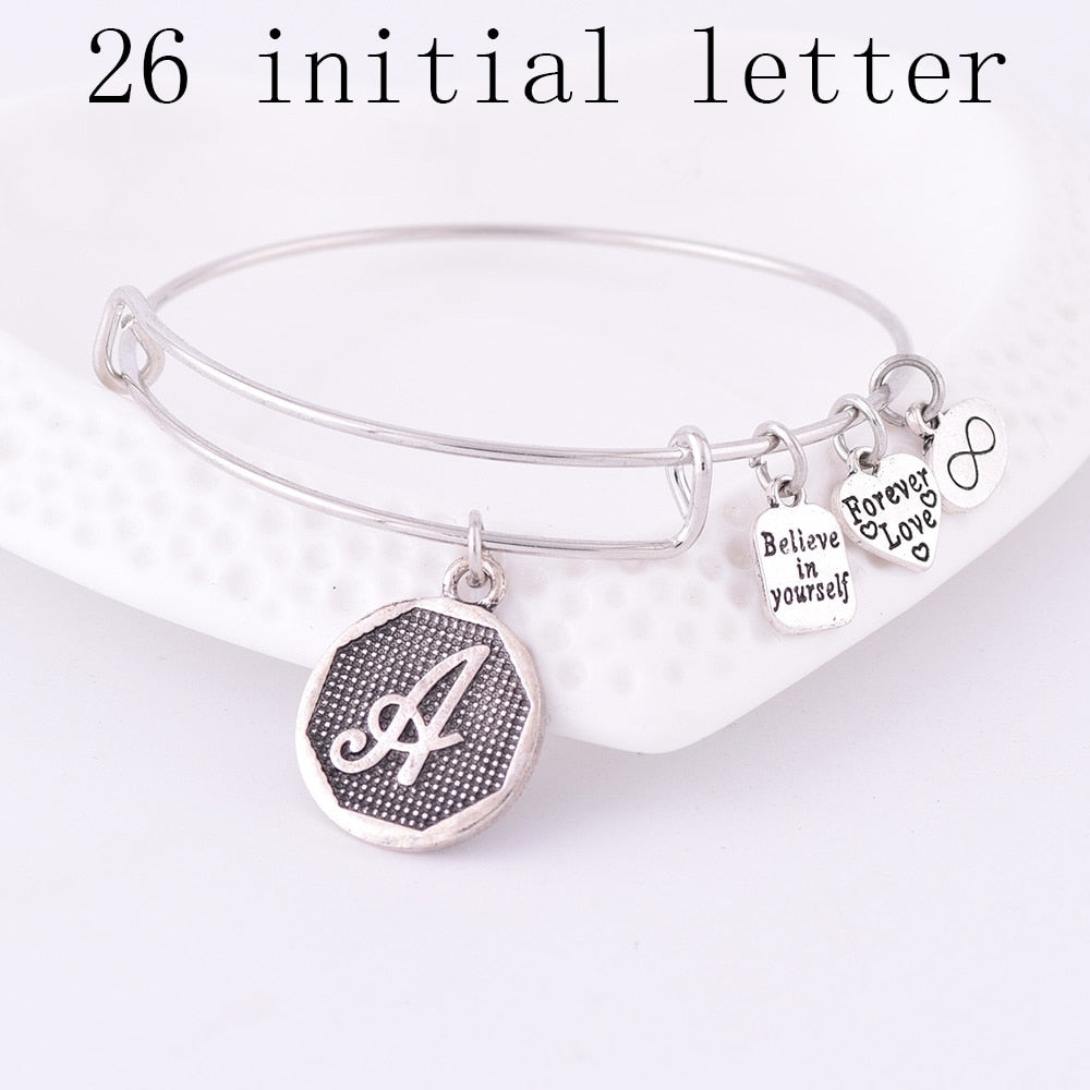 American Expandable Bracelets Silver Ancient A-Z Initial Letter Alphabet Charm Bracelet Adjustable Wire Wrap Cuff Bangle Women