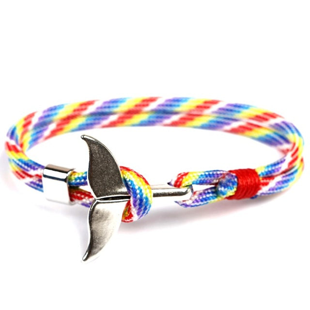 MKENDN Fashion Whale Tail Anchor Bracelets Men Women Charm Nautical Survival Rope Chain Paracord Bracelet Male Wrap Metal Hooks