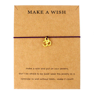 Hot Sale Adjustable Statement Jewelry with Card Make a Wish Silver Healing Namaste OM OHM I Love Yoga Charm Bracelets for Women