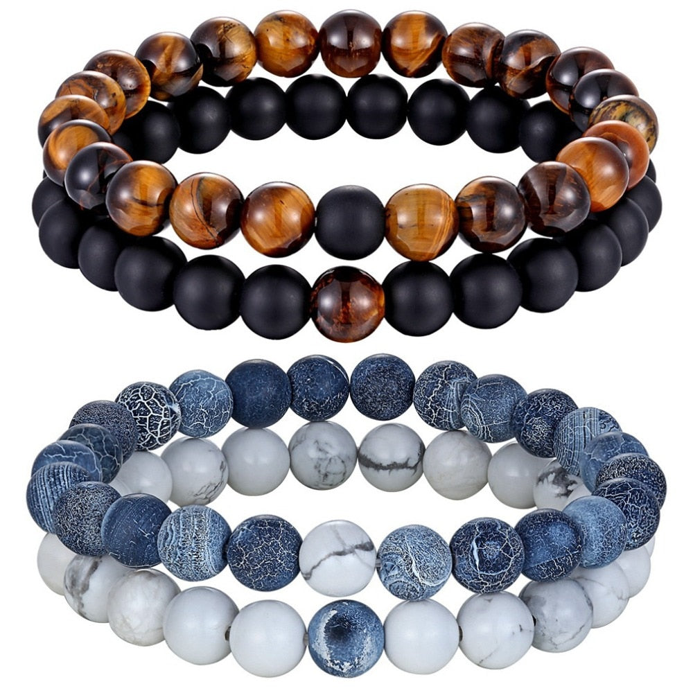 Hot 2pcs/set 7 Style Couples Distance Bracelet Natural Stone Yoga Beaded Bracelet for Men Women Friend Gift Charm Strand Jewelry