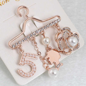 Fashion Brooch Pin Generous Pearl letter Brooch Pin Scarf Pin Top Fashion N5 Brooch For Women