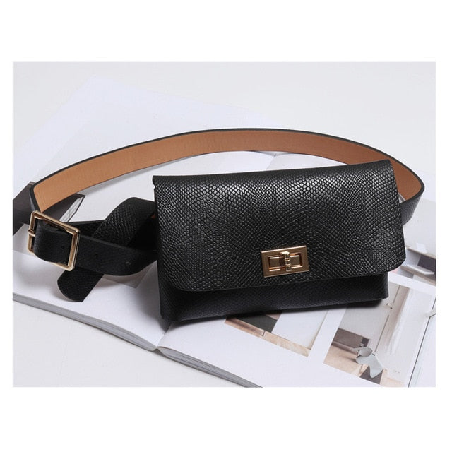 Fanny Pack Fashion Serpentine Waist Bag Women Leather Waist Pack Vintage Waist Belt Bags Phone Pocket B19