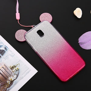 For Samsung Galaxy J3 J5 J7 Pro 2017 Case Soft Silicone Cover Cute 3D Cartoon Unicorn Cat For Samsung J330 J530 J730 Phone Cases