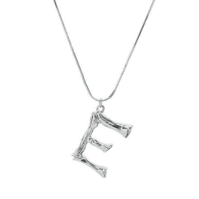 JShine Silver Color 26 Lava Alphabet Pendant Necklace Free Combination Initial Big Letter Necklace Women Statement Jewelry A-Z