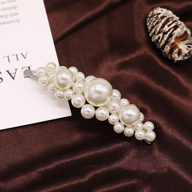 Simulated Pearl Hair Pin Barrette For Women Korean Jewelry Girl Headwear Gold Color Clip HairPins Hair Accessories Hairgrip