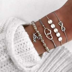 30 Styles Mix Turtle Heart Pearl Wave LOVE Crystal Marble Charm Bracelets for Women Boho Tassel Bracelet Jewelry Wholesale