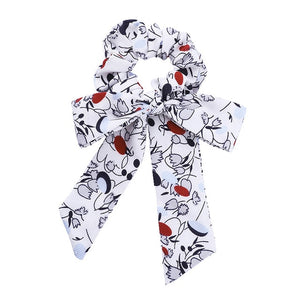 AWAYTR Print Chiffon Scrunchie Elastic Hair Band  Bow Hair Ropes Sweet Ladies Head Band Girls Hair Ties Women Hair Accessories