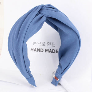 Haimeikang Solid Color Cloth Cross Hairband Headband Turban for Women Lady Wide Plastic Hair Hoop Bezel Hair Bands Accessories