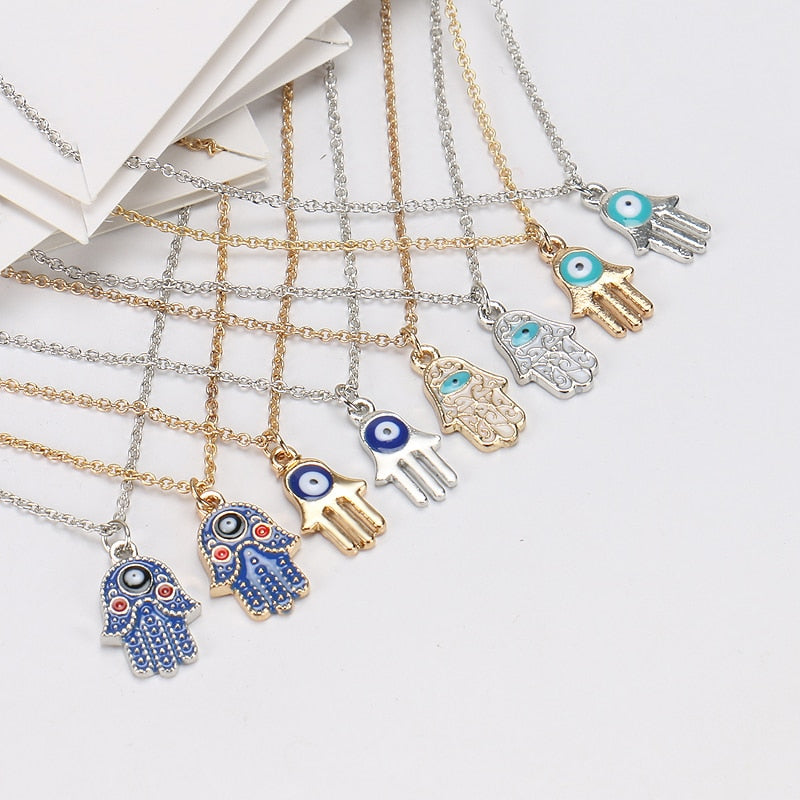 Lucky Collares Bijoux Femme Hamsa Hand Initial Necklace For Women With Wish Card Gold Silver Color Link Chain Fashion Jewelry