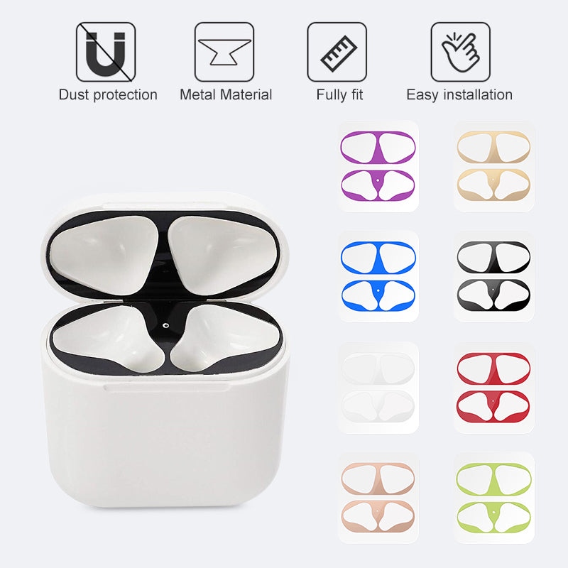 Metal Dust Guard sticker for Apple AirPods Case Cover Dust-proof Protective Sticker Skin Protector for Air Pods Accessories