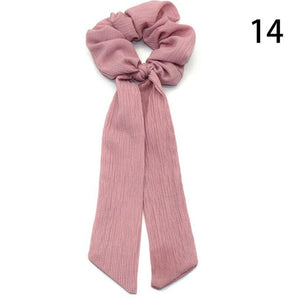 Bohemian Polka Dot Floral Printed Ribbon Bow Hair Scrunchies Women Elastic Hair Band Scarf Hair Rope Ties Girls Hair Accessories - MeriMeriShop