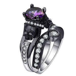 Hainon Black Skull Ring Set 925 Sterling Silver Color Fashion Wedding & Engagement CZ Crystal Ring Set Jewelry For Women