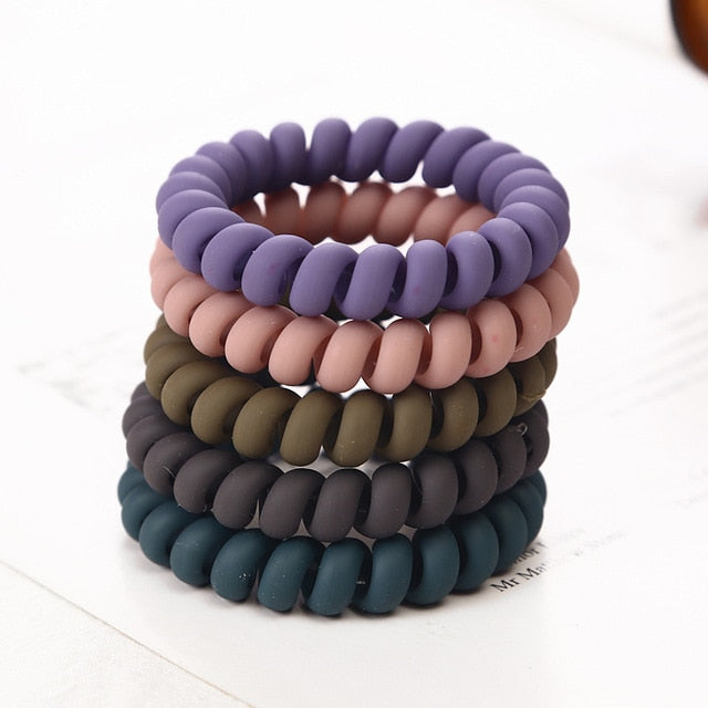 5PCS Frosted Colored Telephone Wire Elastic Hair Bands For Girls Headwear Ponytail Holder Rubber Bands Women Hair Accessories - MeriMeriShop