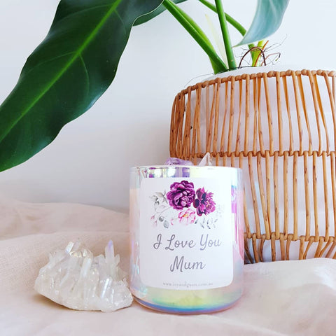 Mothers Day Crystal Candle - Amethyst